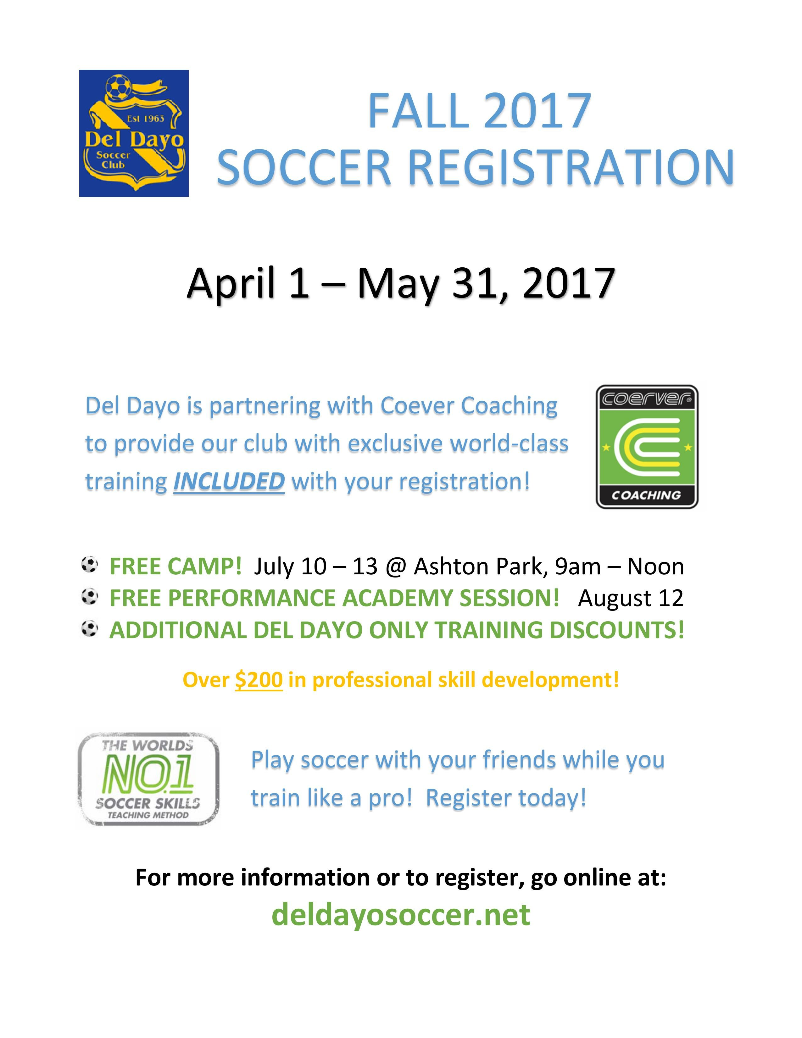 Registration del dayo soccer club registration is open from april 1 2017 may 31 2017 please register your child during this time period to secure your childs placement aiddatafo Image collections
